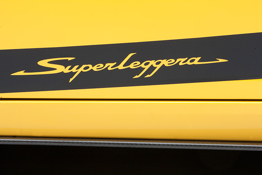 AUT 30 RK4513 01 © Kimball Stock 2008 Lamborghini Gallaro Superleggera Yellow Emblem Detail Studio
