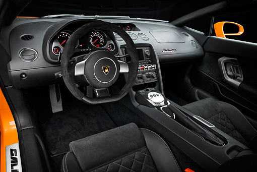 AUT 30 RK4518 01 © Kimball Stock 2009 Lamborghini Gallardo LP560-4 Orange Interior Detail Studio