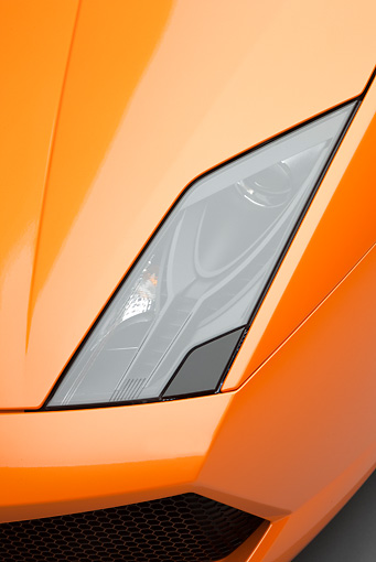 AUT 30 RK4522 01 © Kimball Stock 2009 Lamborghini Gallardo LP560-4 Orange Headlight Detail Studio
