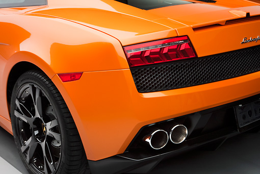 AUT 30 RK4524 01 © Kimball Stock 2009 Lamborghini Gallardo LP560-4 Orange Rear Detail Studio
