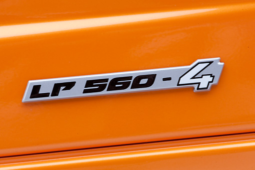 AUT 30 RK4530 01 © Kimball Stock 2009 Lamborghini Gallardo LP560-4 Orange Emblem Detail Studio