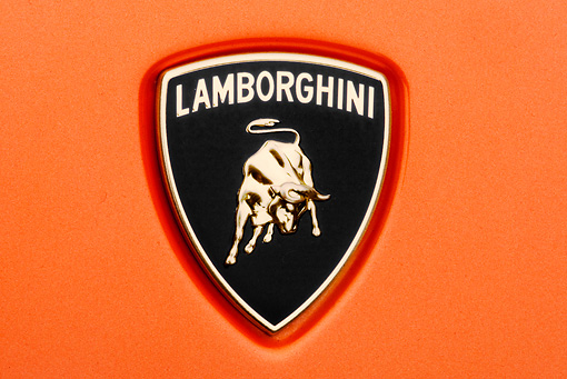 AUT 30 RK4532 01 © Kimball Stock 2009 Lamborghini Gallardo LP560-4 Orange Emblem Detail Studio