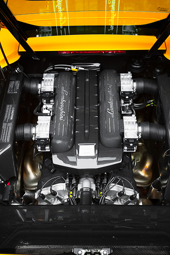 AUT 30 RK4563 01 © Kimball Stock 2008 Lamborghini Murcielago LP640 Yellow Engine Detail Studio