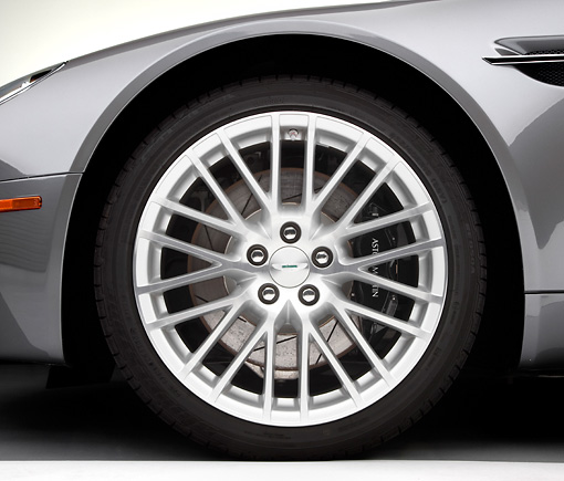 AUT 30 RK4582 01 © Kimball Stock 2009 Aston Martin Vantage Roadster Gray Front Wheel Detail Studio