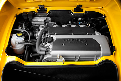 AUT 30 RK4588 01 © Kimball Stock 2008 Lotus Elise California Yellow Engine Detail Studio