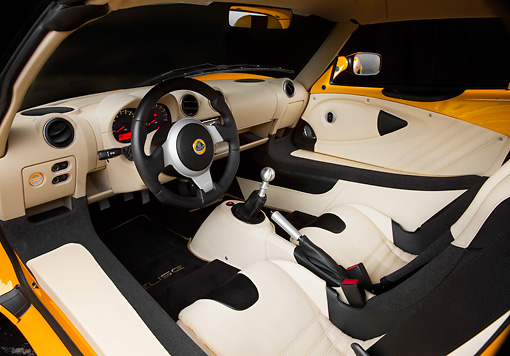 AUT 30 RK4589 01 © Kimball Stock 2008 Lotus Elise California Yellow Interior Detail Studio