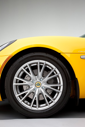 AUT 30 RK4594 01 © Kimball Stock 2008 Lotus Elise California Yellow Front Wheel Detail Studio