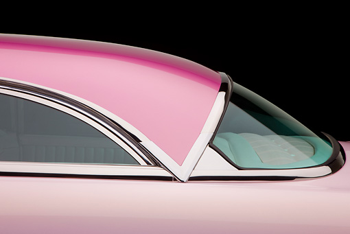 AUT 30 RK4636 01 © Kimball Stock 1955 Lincoln Capri Pink Roof Detail Studio