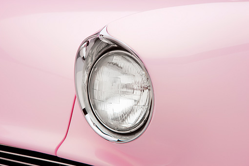 AUT 30 RK4638 01 © Kimball Stock 1955 Lincoln Capri Pink Headlight Detail Studio