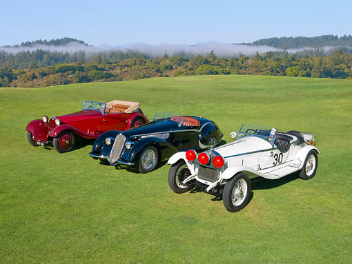 AUT 31 RK0107 01 © Kimball Stock 1930 Alfa Romeo 6C 1750 GS Zagato White, 1937 Alfa Romeo 8C 2900B Spider Black, 1934 Alfa Romeo 8C 2300 Red 3/4 Front View On Grass