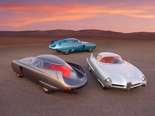 AUT 31 RK0085 01 © Kimball Stock 1953,54,55 Alfa Romeo Bertone B.A.T. 5,7,9 On Pavement