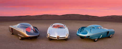AUT 31 RK0086 01 © Kimball Stock 1953,54,55 Alfa Romeo Bertone B.A.T. 5,7,9 On Pavement