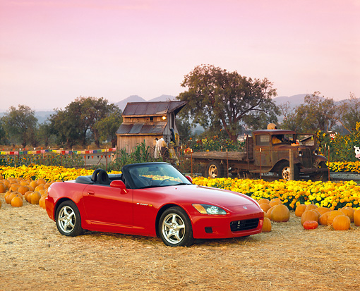 AUT 33 RK0040 10 © Kimball Stock Honda S 2000 Convertible Red 3/4 Side View At Pumpkin Patch Filtered