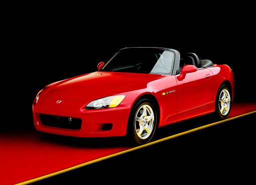 AUT 33 RK0064 03 © Kimball Stock Honda S 2000 Convertible Red 3/4 Front View On Red Floor Yellow Line Studio