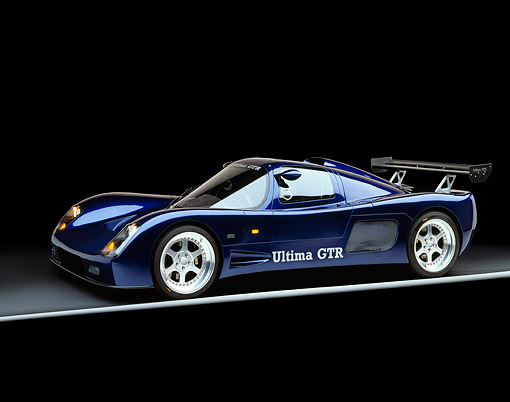 AUT 33 RK0109 03 © Kimball Stock 2000 Ultima GTR Blue 3/4 Side View On Gray Line Studio