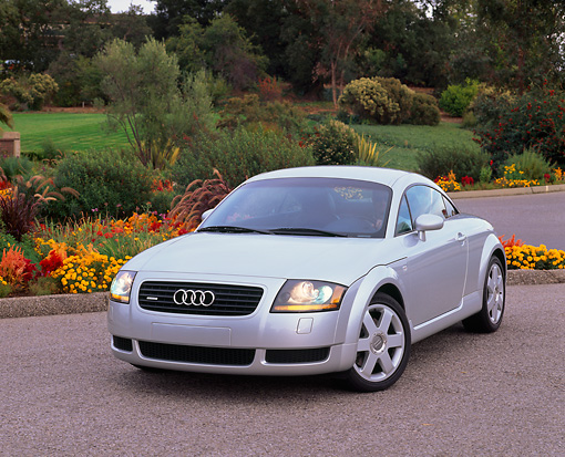 AUT 33 RK0076 12 © Kimball Stock 2000 Audi Quattro TT Coupe Silver 3/4 Front View On Pavement By Flowers And Grass