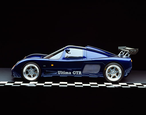 AUT 33 RK0110 02 © Kimball Stock 2000 Ultima GTR Blue Profile View On Checkered Line Studio