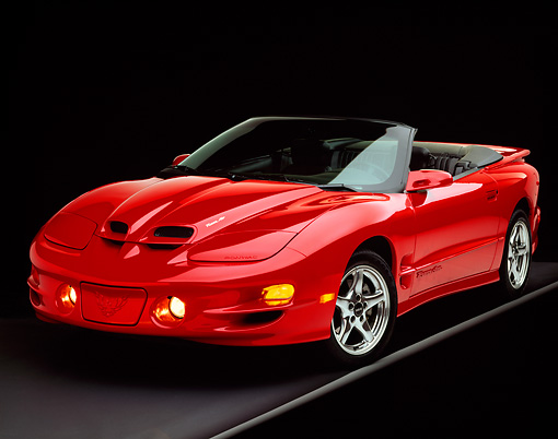 AUT 33 RK0146 06 © Kimball Stock 2000 Pontiac Firebird Trans Am WS6 Convertible Red 3/4 Front View On Gray Line Studio