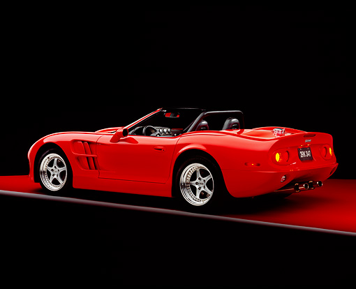 AUT 33 RK0308 01 © Kimball Stock 2000 Shelby Series 1 Roadster Red 3/4 Rear View Studio