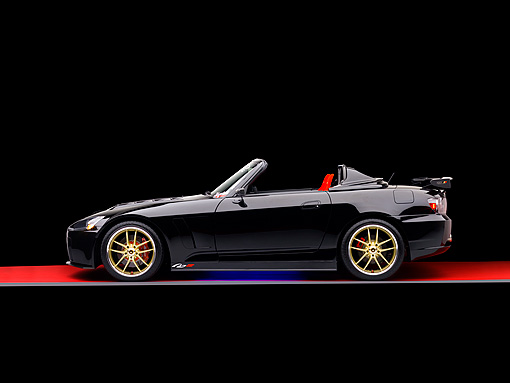 AUT 33 RK0362 01 © Kimball Stock 2000 Honda S2000 Convertible Black Profile View Studio
