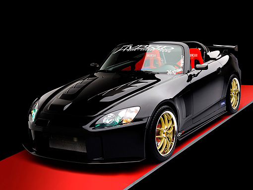 AUT 33 RK0365 01 © Kimball Stock 2000 Honda S2000 Convertible Black 3/4 Front View Studio