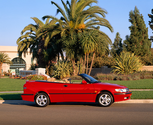 AUT 34 RK0114 02 © Kimball Stock 2001 Saab 93 Convertible Red Profile View On Pavement By Grass And Palm Trees