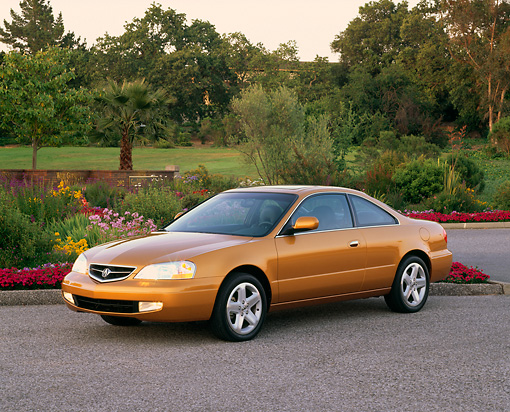 AUT 34 RK0077 06 © Kimball Stock 2001 Acura 3.2CL Gold 3/4 Front View On Pavement By Flowers And Trees