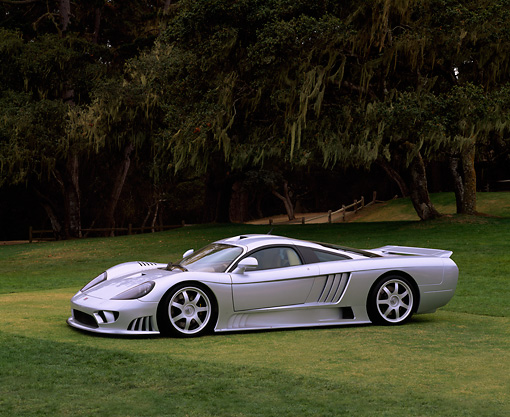 AUT 34 RK0087 03 © Kimball Stock 2001 Saleen S7 Silver 3/4 Front View On Grass Trees Background