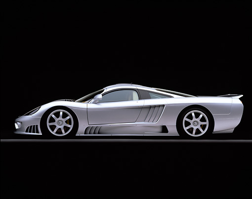 AUT 34 RK0100 03 © Kimball Stock 2001 Saleen S7 Silver Profile View On Gray Line Studio