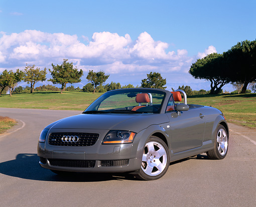 AUT 34 RK0144 04 © Kimball Stock 2001 Audi TT Roadster Gray Front 3/4 View On Pavement By Grass And Trees