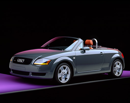 AUT 34 RK0150 06 © Kimball Stock 2001 Audi TT Roadster Gray Front 3/4 View On Purple Floor Gray Line Studio