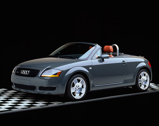AUT 34 RK0153 03 © Kimball Stock 2001 Audi TT Roadster Gray Side 3/4 View On Checkered Floor Studio