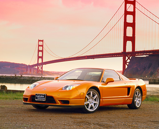 AUT 35 RK0153 01 © Kimball Stock 2002 Acura NSX Imola Pearl Orange 3/4 Front View By SF Bridge Filtered
