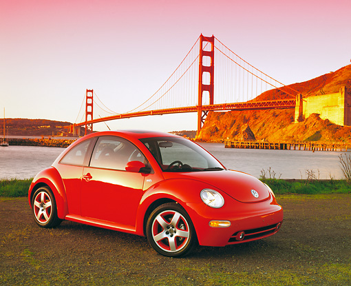 AUT 35 RK0242 14 © Kimball Stock 2002 VW New Beetle GLS Turbo Orange 3/4 Side View By SF Bridge Filtered