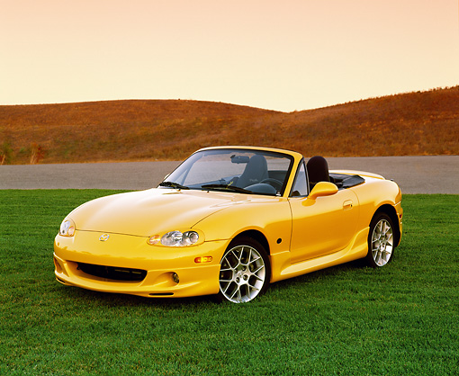 AUT 35 RK0260 01 © Kimball Stock 2002 Mazda Miata Special Edition Yellow 3/4 Front View On Grass Filtered