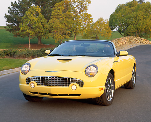AUT 35 RK0099 01 © Kimball Stock 2002 Ford Thunderbird Yellow Convertible 3/4 Front View On Pavement By Trees