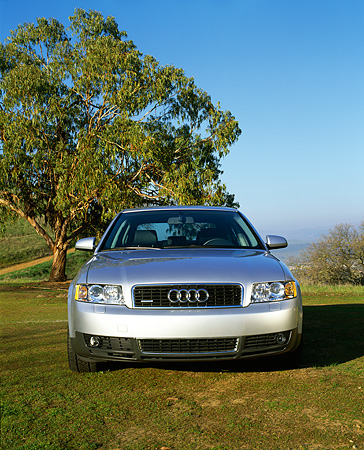 AUT 35 RK0142 04 © Kimball Stock 2002 Audi A4 3.0 Quattro MT6 Silver Head On Shot On Grass Trees Blue Sky