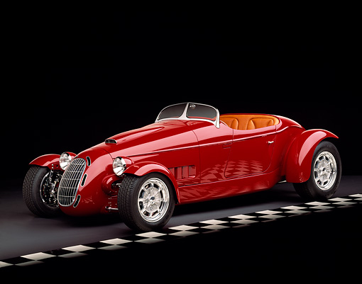 AUT 35 RK0191 04 © Kimball Stock 2002 Torpedo Roadster Custom Red 3/4 Side View On Checkered Line Black Floor Studio