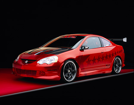 AUT 35 RK0344 03 © Kimball Stock 2002 Acura RSX Type S Red With Graphics Modify By APC Front 3/4 View On Red Floor Gray Line Studio