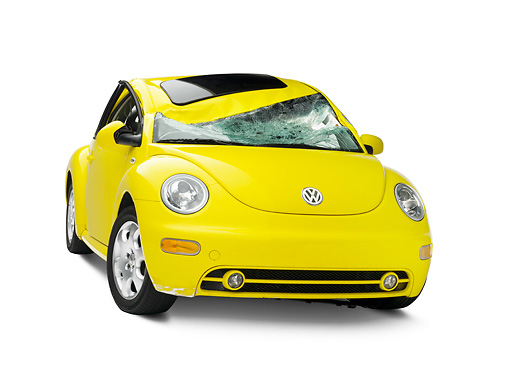 AUT 35 RK0393 01 © Kimball Stock Crushed 2002 Volkswagen New Beetle Yellow 3/4 Front View On Seamless Studio