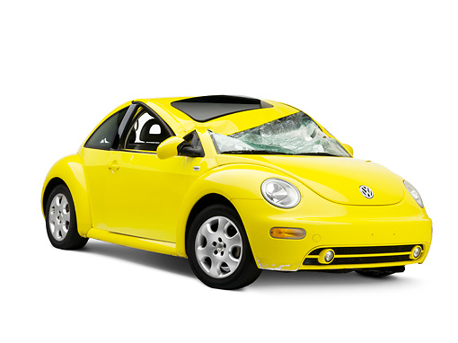 AUT 35 RK0394 01 © Kimball Stock Crushed 2002 Volkswagen New Beetle Yellow 3/4 Front View On Seamless Studio