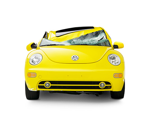 AUT 35 RK0395 01 © Kimball Stock Crushed 2002 Volkswagen New Beetle Yellow Head On View On Seamless Studio