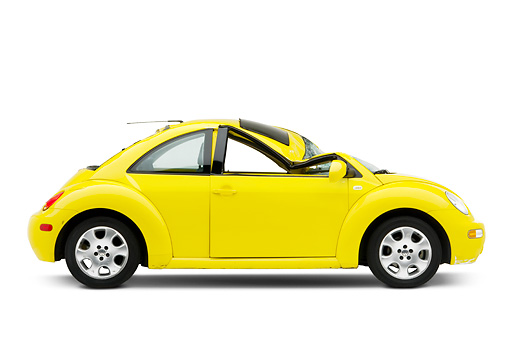 AUT 35 RK0396 01 © Kimball Stock Crushed 2002 Volkswagen New Beetle Yellow Profile View On Seamless Studio
