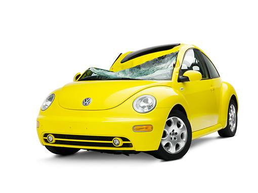 AUT 35 RK0397 01 © Kimball Stock Crushed 2002 Volkswagen New Beetle Yellow 3/4 Front View On Seamless Studio