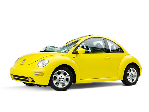 AUT 35 RK0398 01 © Kimball Stock Crushed 2002 Volkswagen Beetle Yellow 3/4 Front View On Seamless Studio
