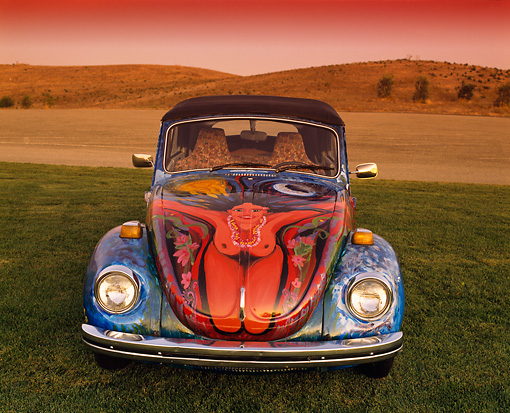 AUT 36 RK0042 03 © Kimball Stock 1972 VW Bug Art Car Head On Shot On Grass Hills Blue Sky