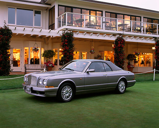AUT 38 RK0027 03 © Kimball Stock 2003 Bentley Azure Gray 3/4 Side View By Building