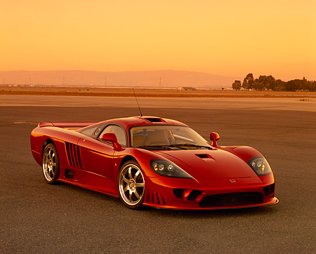AUT 38 RK0196 01 © Kimball Stock 2003 Saleen S7 Red 3/4 Front View On Pavement Filtered