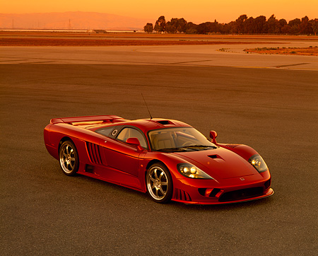 AUT 38 RK0197 03 © Kimball Stock 2003 Saleen S7 Red 3/4 Side View On Pavement Filtered