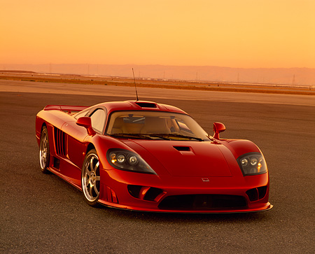 AUT 38 RK0198 01 © Kimball Stock 2003 Saleen S7 Red 3/4 Front View On Pavement Filtered